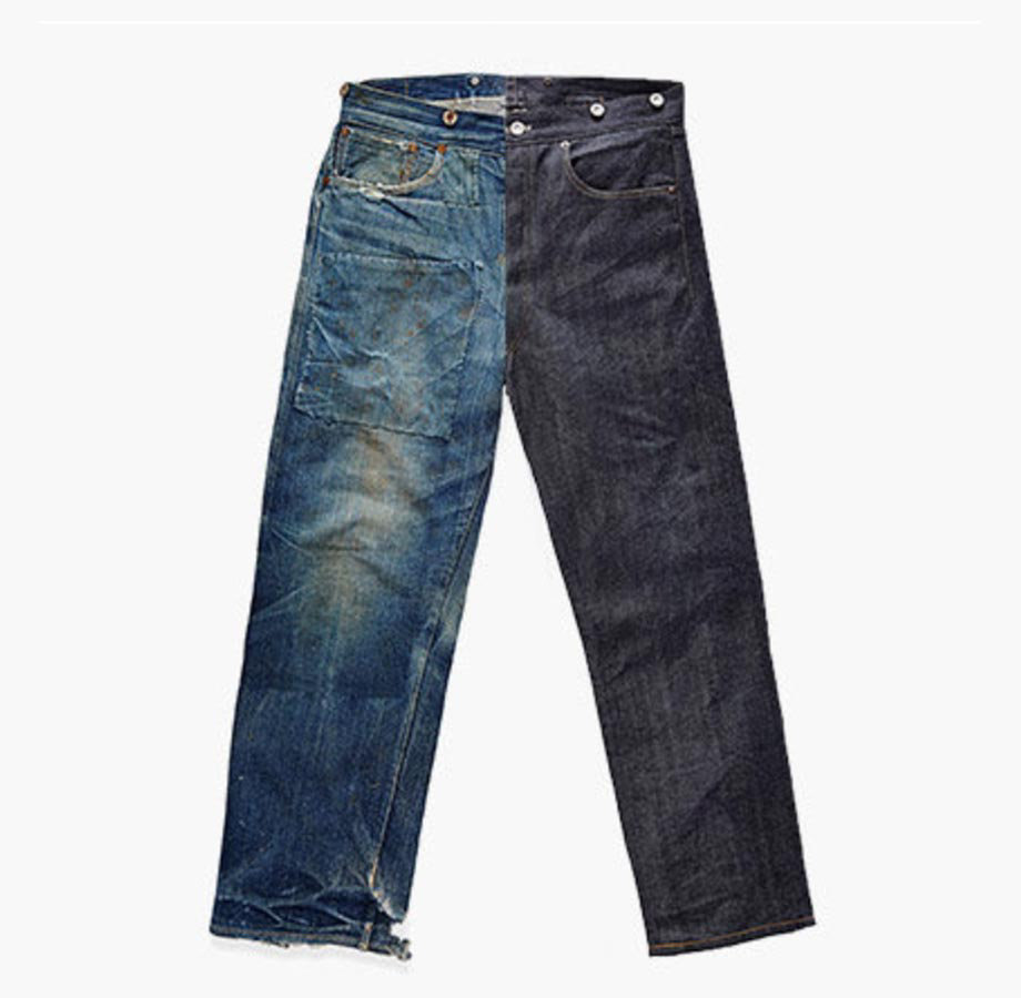 0f316b3941 High whiskering is characteristic of the wear and tear of jeans worn by  miners. Jeans were often handed down