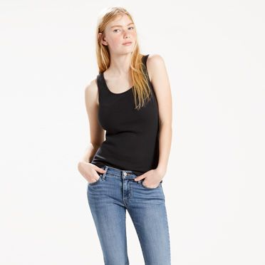 Levis Women's Classic Ribbed Tank Top (White or Black)