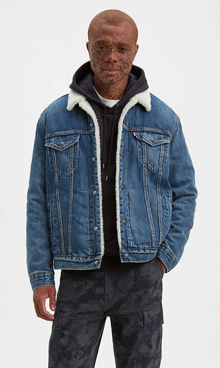Sherpa Trucker Jacket Medium Wash Levi S Us