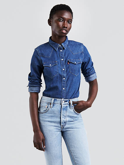 Women 39 s shirts denim blouses tank tops t shirts levi for Dress shirt no pocket