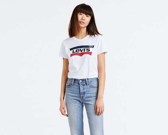 b30c0653 Levi's® Logo Colorblock Fill Tee Shirt - White | Levi's® US