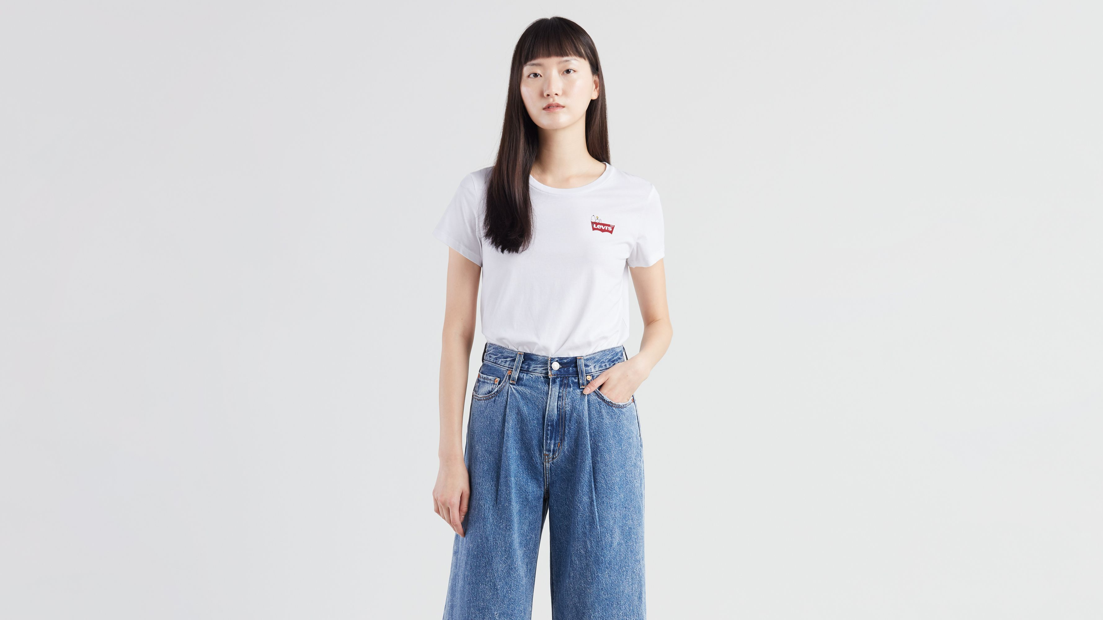 174368e6 Levi's® X Peanuts Perfect Graphic Tee - White | Levi's® GB