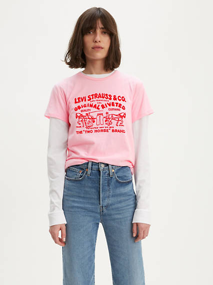 Two Horse Bubble Graphic Tee Shirt