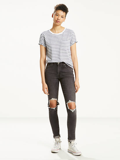 2d3c3a3ce59 721 High Rise Ripped Skinny Jeans - Black | Levi's® US