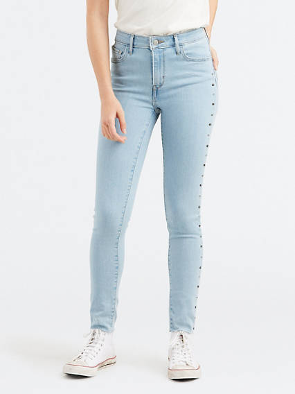 721 High Rise Studded Skinny Jeans