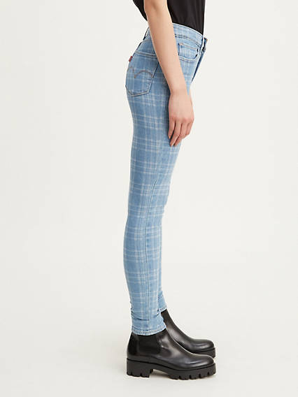 721 High Rise Skinny Plaid Jeans