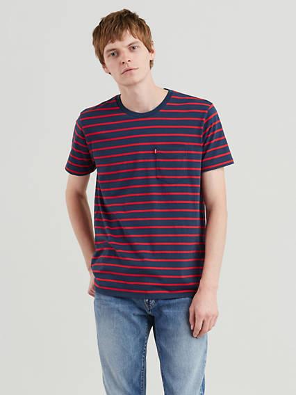 Classic Striped Pocket Tee Shirt