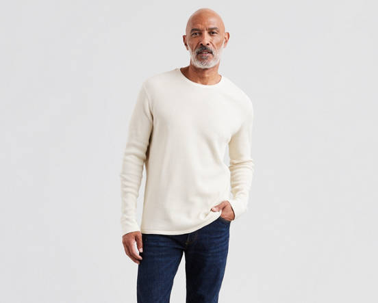 2f3395ae325 Thermal Crewneck Tee Shirt - White
