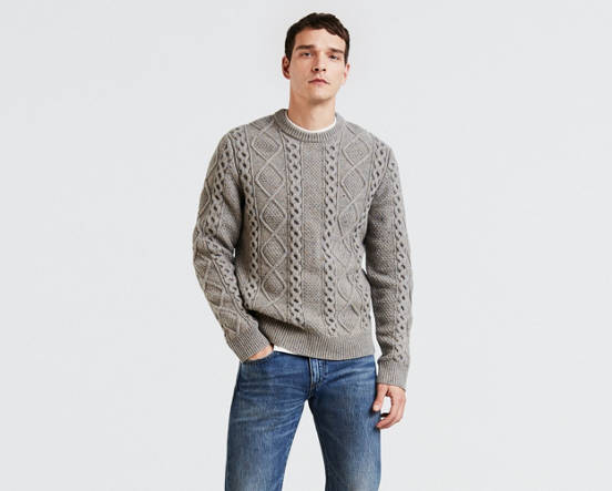 03610a7f6 Fisherman Cable Crewneck Sweater - Grey