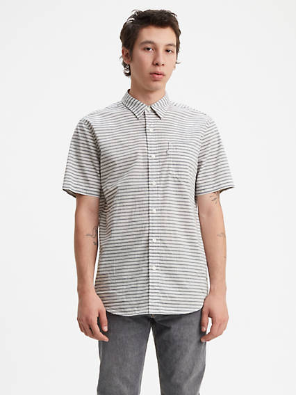 Striped Short Sleeve Classic One Pocket Shirt