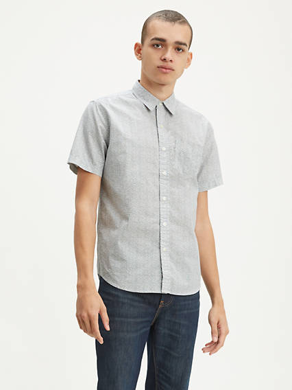 Printed Short Sleeve Classic One Pocket Shirt
