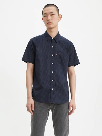 Dot Print Short Sleeve Classic One Pocket Shirt