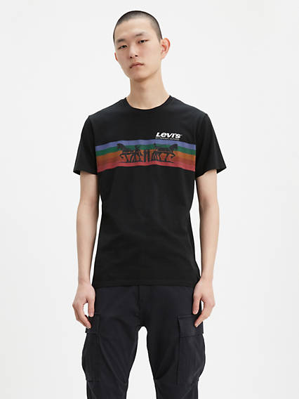 Two Horse Stripe Graphic Tee Shirt