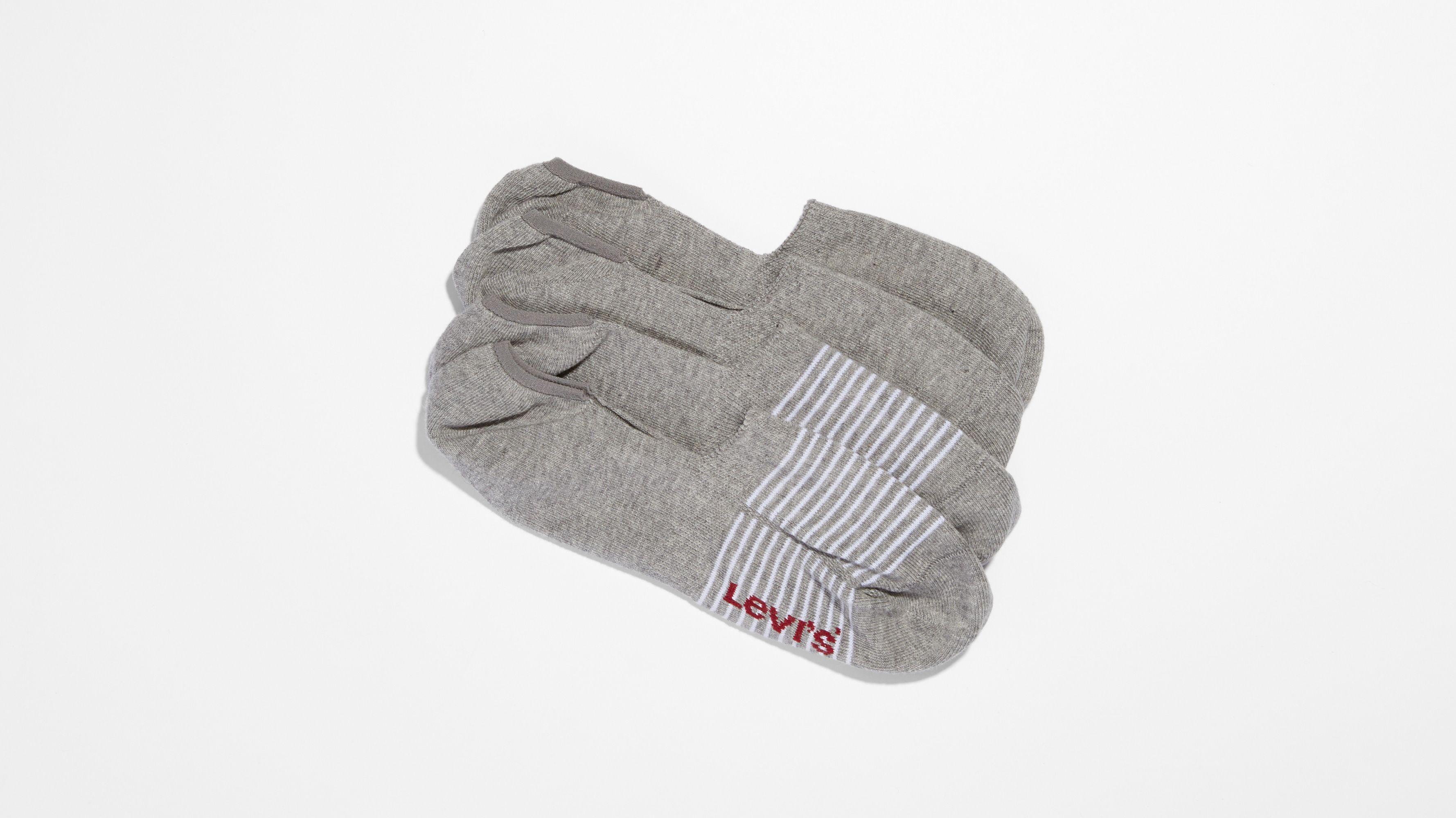 Levi's® 2-Pack No Show Stripe Solid Socks