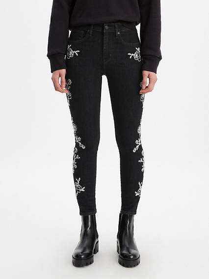 721 High Rise Embroidered Ankle Skinny Jeans