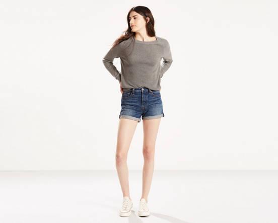 326dfad8577 High Rise Wedgie Fit Shorts - Dark Wash