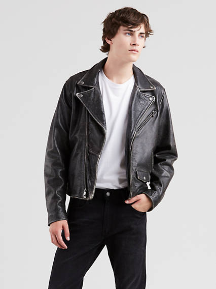 Leather Moto Trucker Jacket