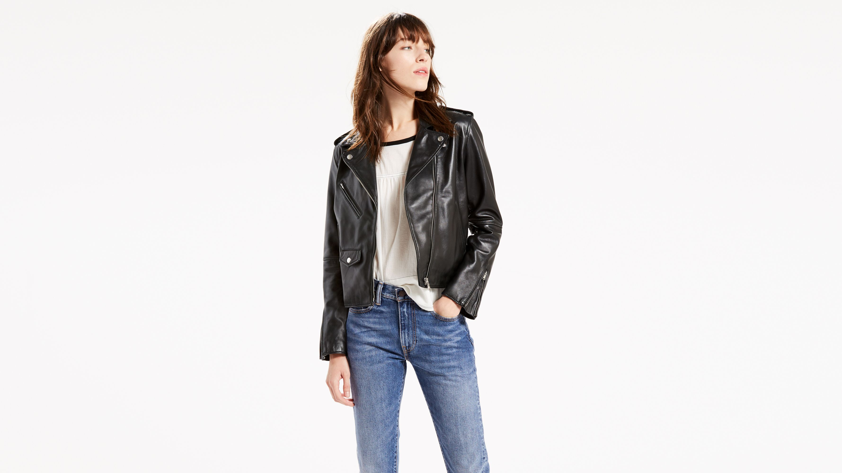 eaeefd61e88 Relaxed Leather Moto Jacket - Black