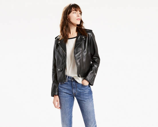 3f4bd779941 Mouse over image for a closer look. Relaxed Leather Moto Jacket ...