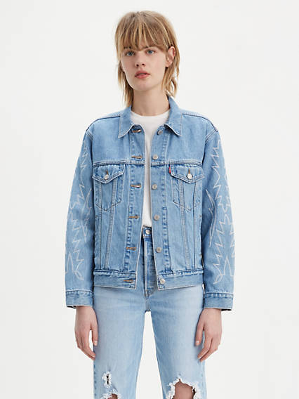 Ex-Boyfriend Embroidered Sleeve Trucker Jacket