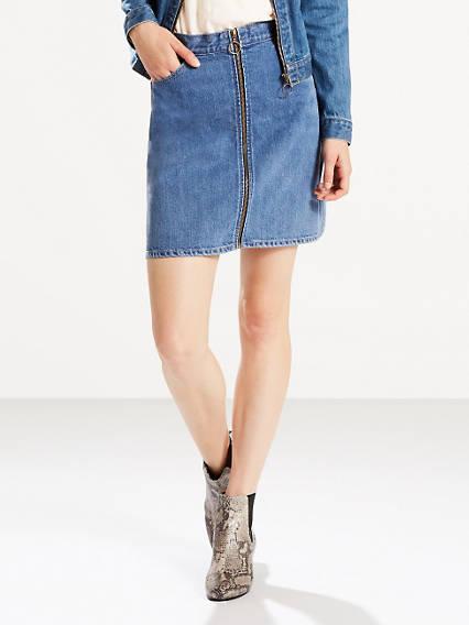 Orange Tab Zip Front Skirt
