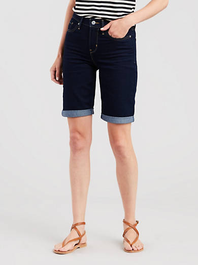 Levi's Shorts Women's Bermuda Shorts Island Rinse Dark Wash 29969-0016