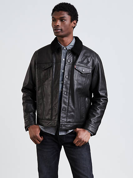 Levi's® NBA Leather Sherpa Trucker Jacket