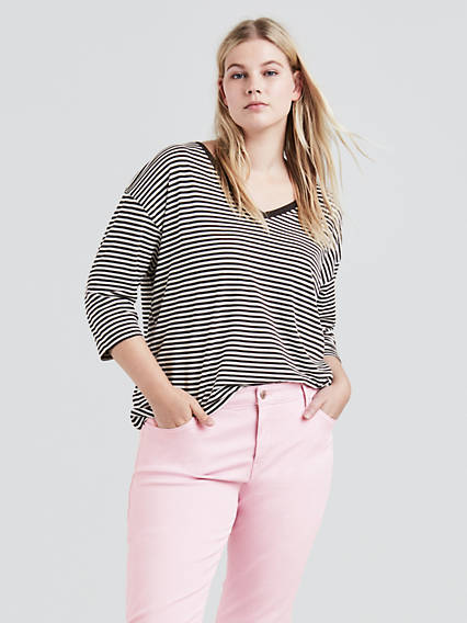Long Sleeve Flowy Tee Shirt (Plus Size)
