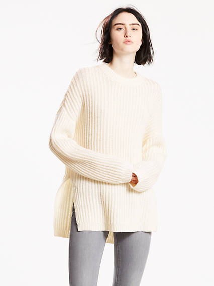 Oversized Rib Crewneck Sweater