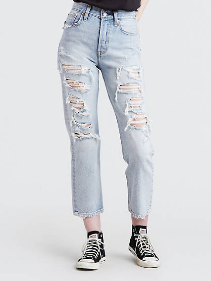 Wedgie Fit Shredded Straight Jeans