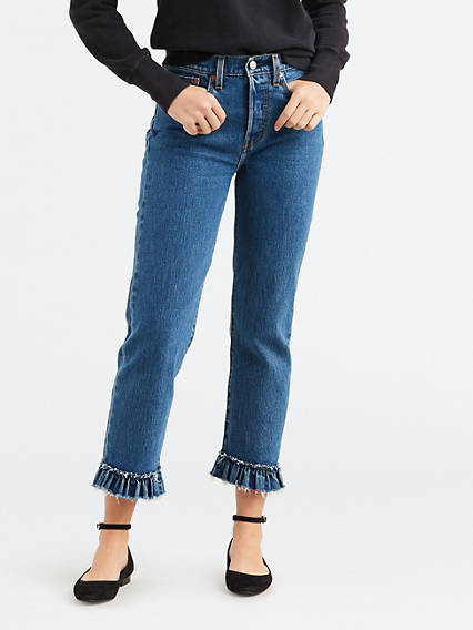 Wedgie Fit Straight Ruffle Hem Jeans
