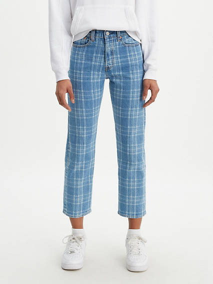 Plaid Wedgie Fit Straight Women's Jeans
