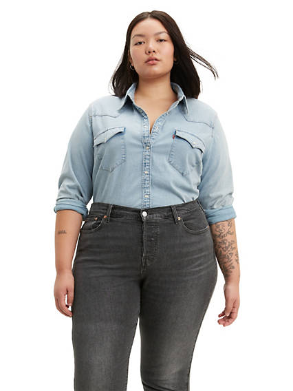 798bf13d17e Women s Plus Size Western Wear - Plus Size Denim Shirts