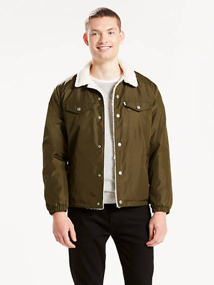Nylon Sherpa Coach's Trucker Jacket