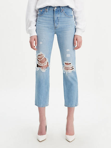 501® Original Cropped Patched Jeans