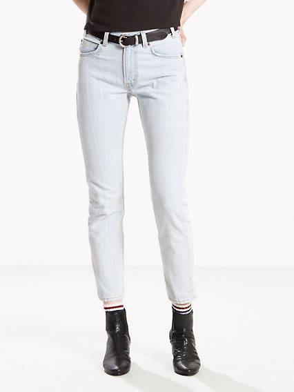 Orange Tab Slim Leg Jeans