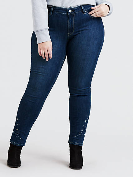 711 Embroidered Skinny Jeans (Plus Size)