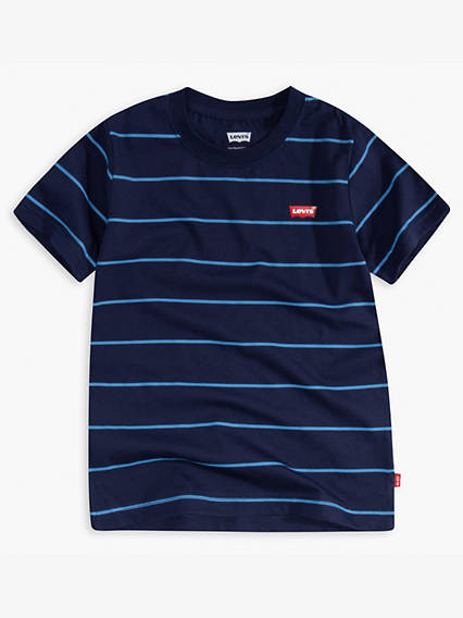 Toddler Boys Striped Indigo Tee Shirt