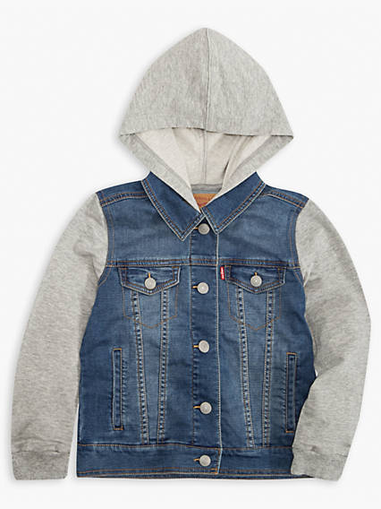 Little Boys Indigo Knit Trucker Jacket