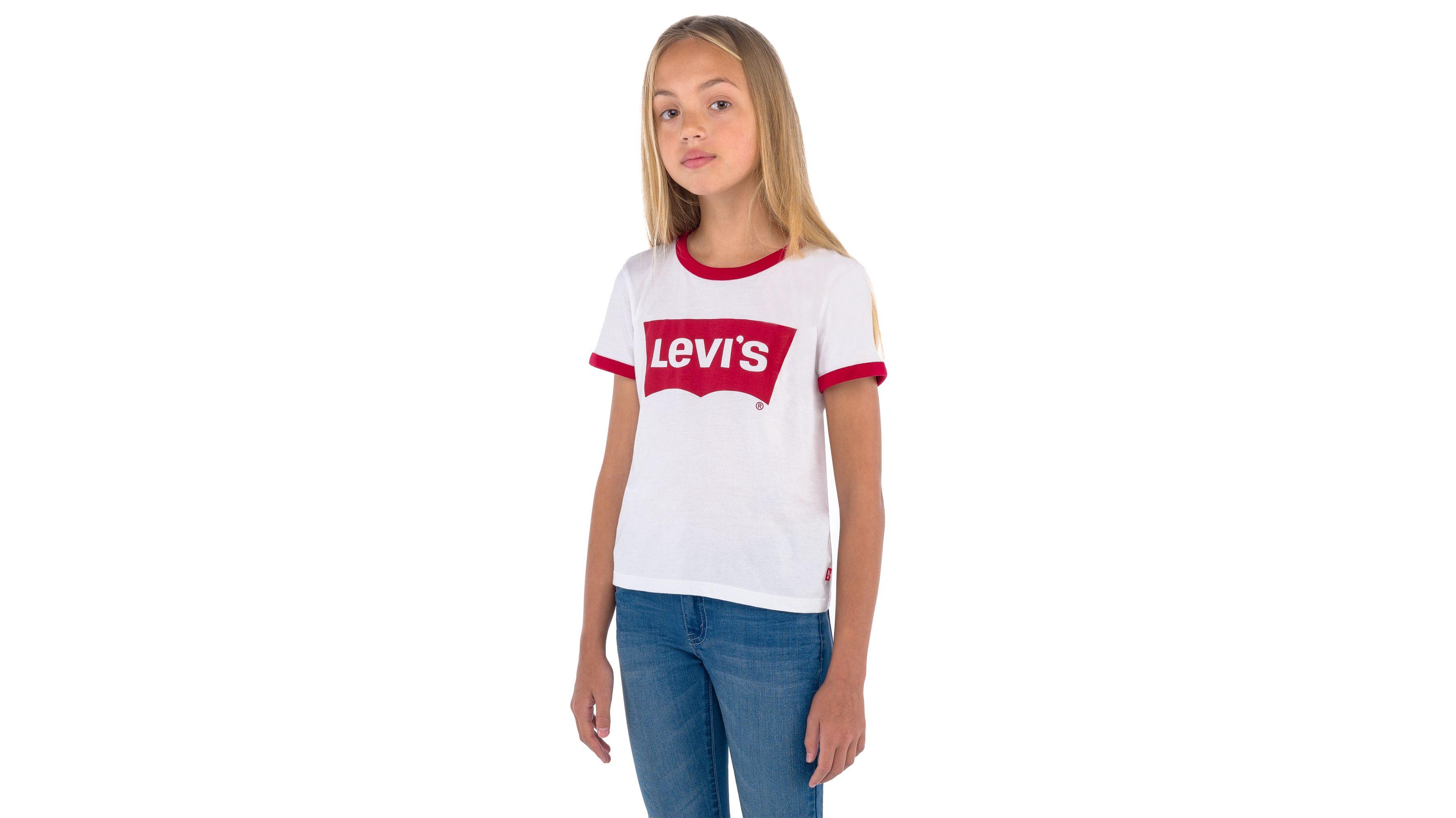 17ef061e5bc3e7 Big Girls Levi's® Retro Ringer Tee Shirt - White | Levi's® US