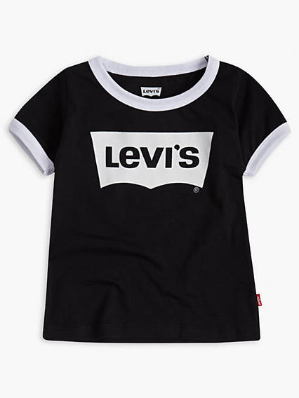 Toddler Girls Oversized Levi's® Logo Ringer Tee Shirt