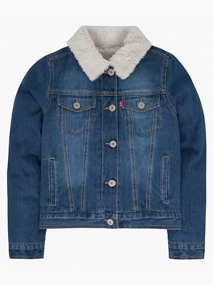Girls 7-16 Sherpa Trucker Jacket