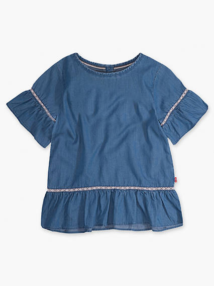 Toddler Girls 2T-4T Short Sleeve Ruffle Play Shirt