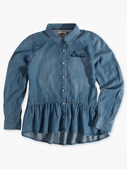 Girls 7-16 Woven Peplum Shirt