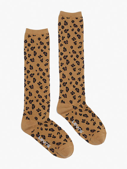 Leopard Print Knee High Socks