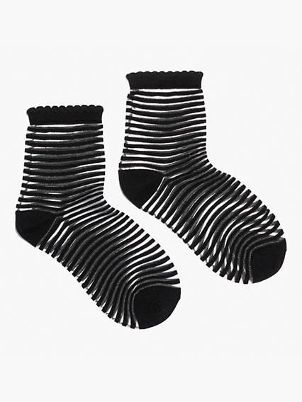 Short Sheer Stripe Sport Socks