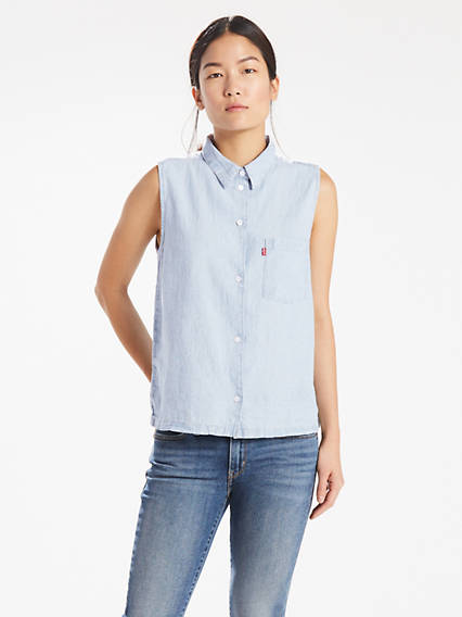Sleeveless Sidney Button Back Shirt