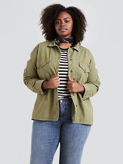 Military Shirt Jacket (Plus Size)