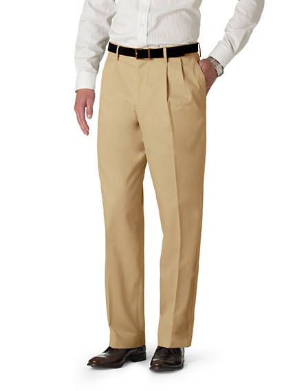 Big & Tall Signature Iron Free Khaki Pleated Pants