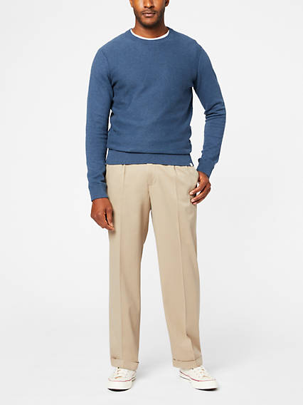 Men's Comfort Khaki Pleated Pants, Relaxed Fit